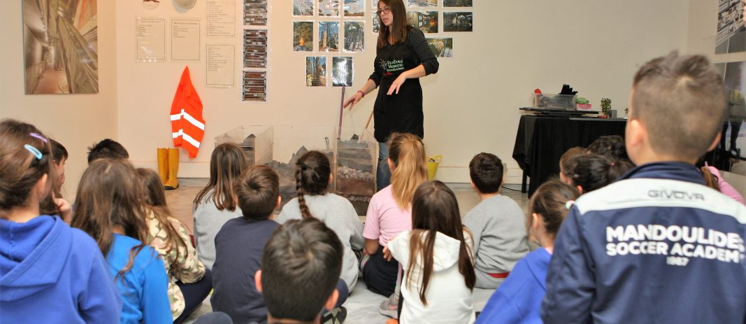 Students of the 3rd grade of mandoulides schools learning about the metro of thessaloniki