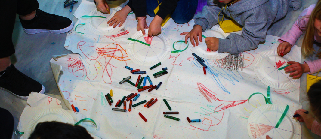 Hands of the students of mandoulides schools kindergarten painting