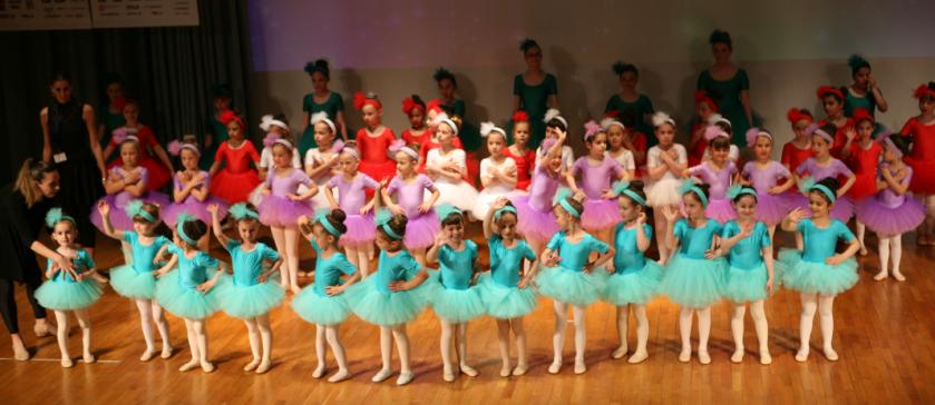 Οι μικρές μπαλαρίνες των εκπαιδευτηρίων με στολές σε διάφορα χρώματα πάνω στη σκηνή του κέντρου εκδηλώσεων, υπολίνονται στους καλεσμένους