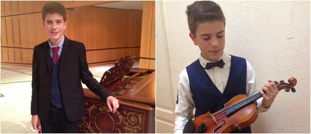 Junior high school student takes part in concert as a soloist