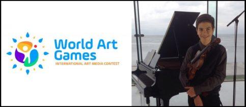 Ο μαθητής Θ. Κυπάρος κατέκτησε το Grand Prize παίζοντας βιολί στον Διεθνή Διαγωνισμό «World Art Games» Fiestalonia Milenio International Contest